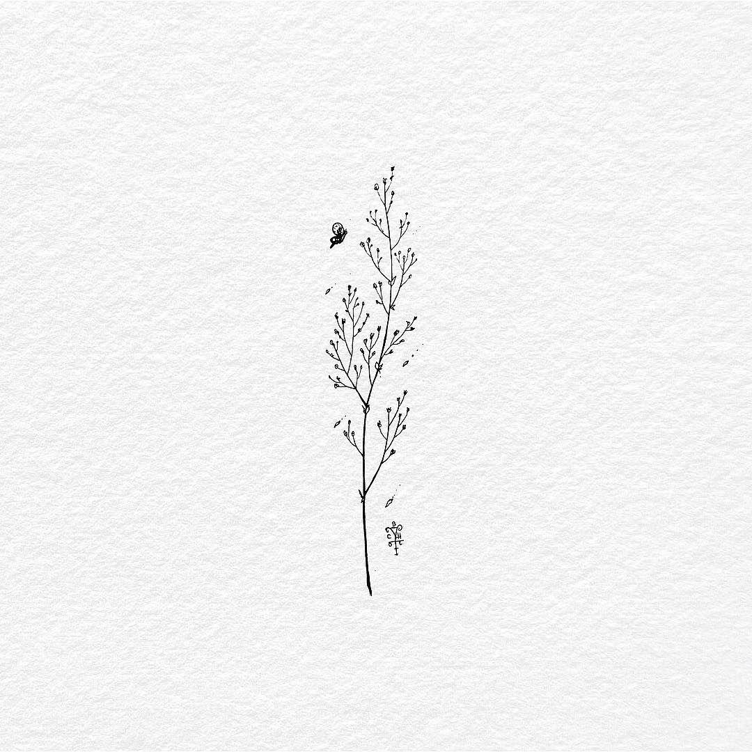 "Photo of Bali Tattoo By Bacht sur Instagram: «Juste une autre herbe sauvage. Encre sur papier …. . . . . . #wildgrass #grass #tatts #tattoo #tattoos #tattoolife #minimalist # simpletattoo… """