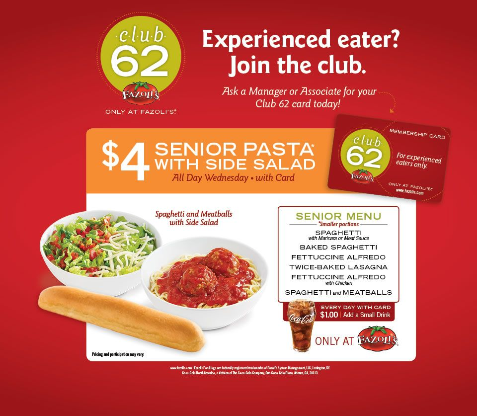 image relating to Fazoli's Printable Menu named Club 62 Fazolis Wonderful principle for seniors, attain your card