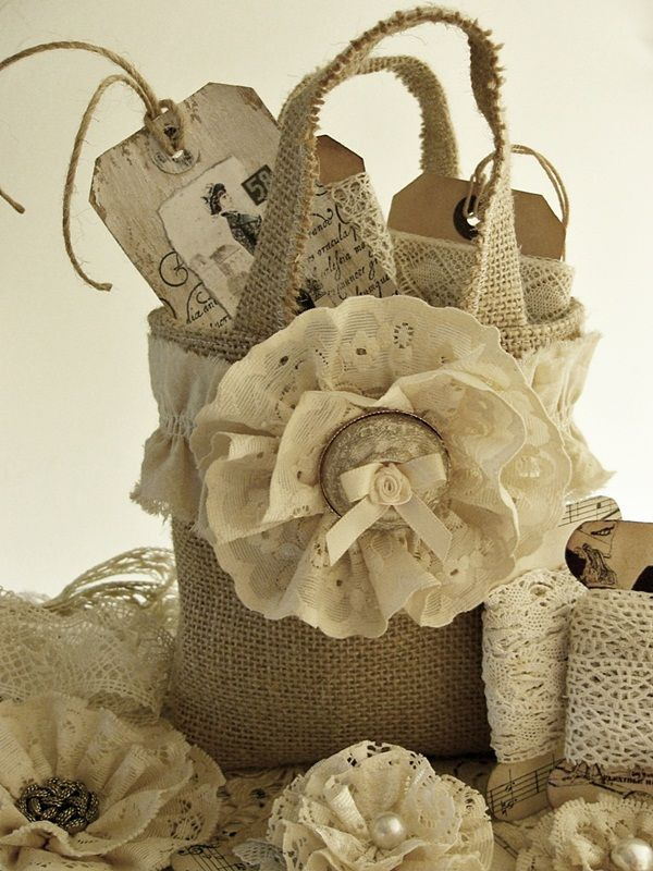 burlap tote - with fabric flower - would make the most ADORABLE gift bag for anyone who loves rustic, shabby chic, vintage cottage, country, chippy styles