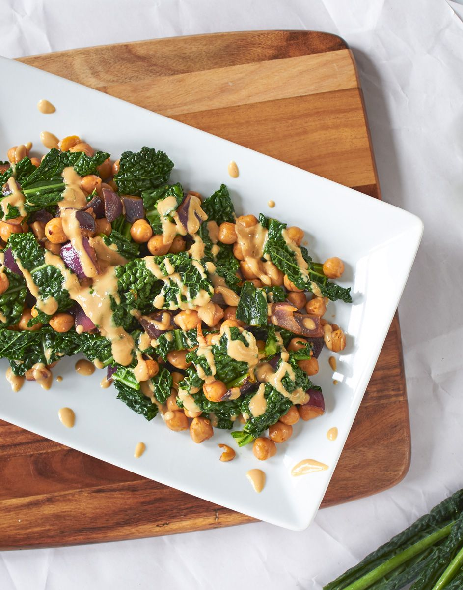 Smoky Kale And Chickpeas With Miso Peanut Drizzle