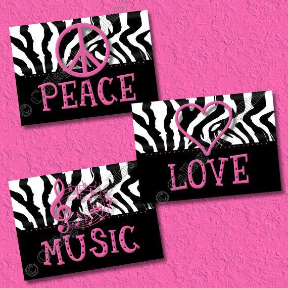 Hot Pink Zebra Print Art Wall Decor Peace Sign Love Music Heart Girls Room  Teen Dorm UNFRAMED 8x10 Photo Picture Prints Home Decor Nursery +