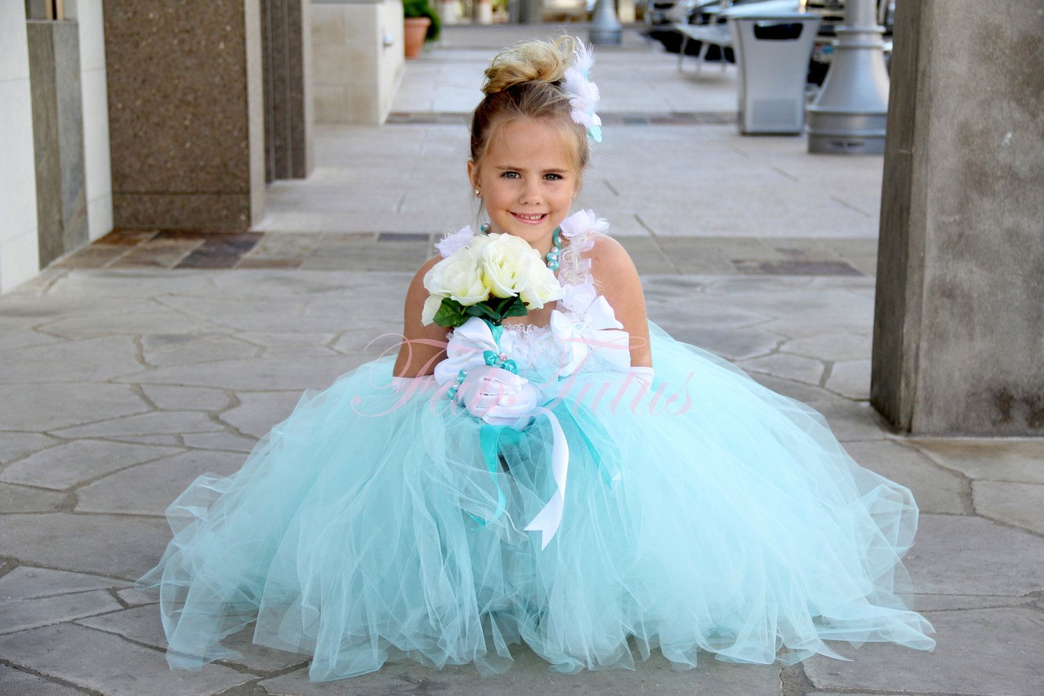 Tiffany Blue Flower Girl Dress Any Size Available Multiple Options