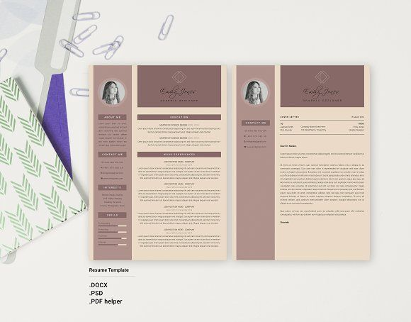 Color Simple CV-Resume Template *C @Graphicsauthor Resume CV - simple professional resume template