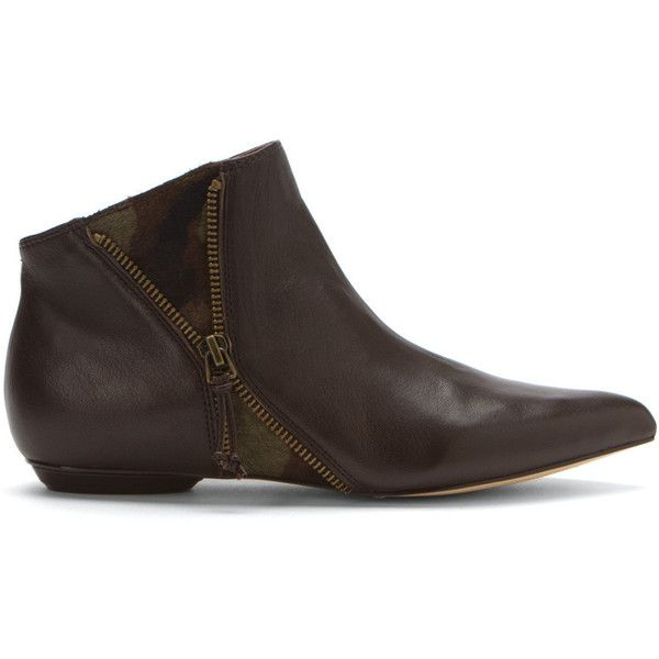 Corso Como Women's Maci Boots (210 CAD) ❤ liked on Polyvore featuring shoes, boots, ankle booties, coffee, leather ankle bootie, leather ankle boots, embellished boots, ankle boots and zipper ankle boots