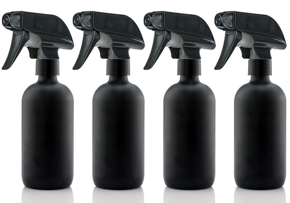 d1b542c33b89 Large 8 oz Black Matte Glass Spray Bottles with Chalkboard Labels (4 ...