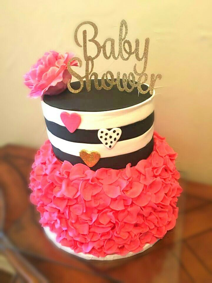 Kate Spade Girl Baby shower cake-pink, gold, black and white.