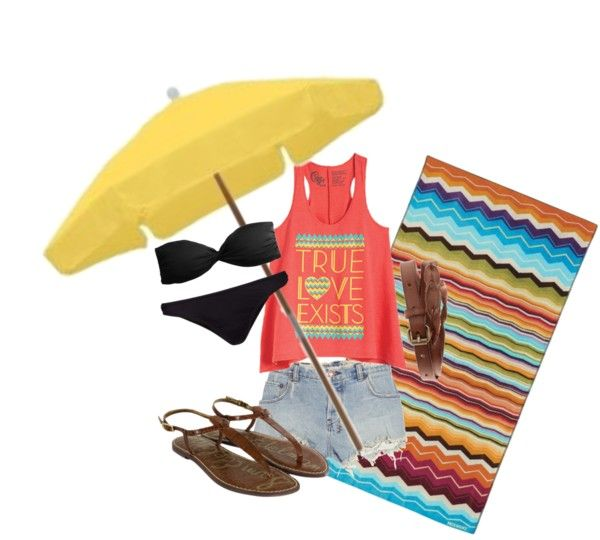 At the beach, created by lbcavallini on Polyvore