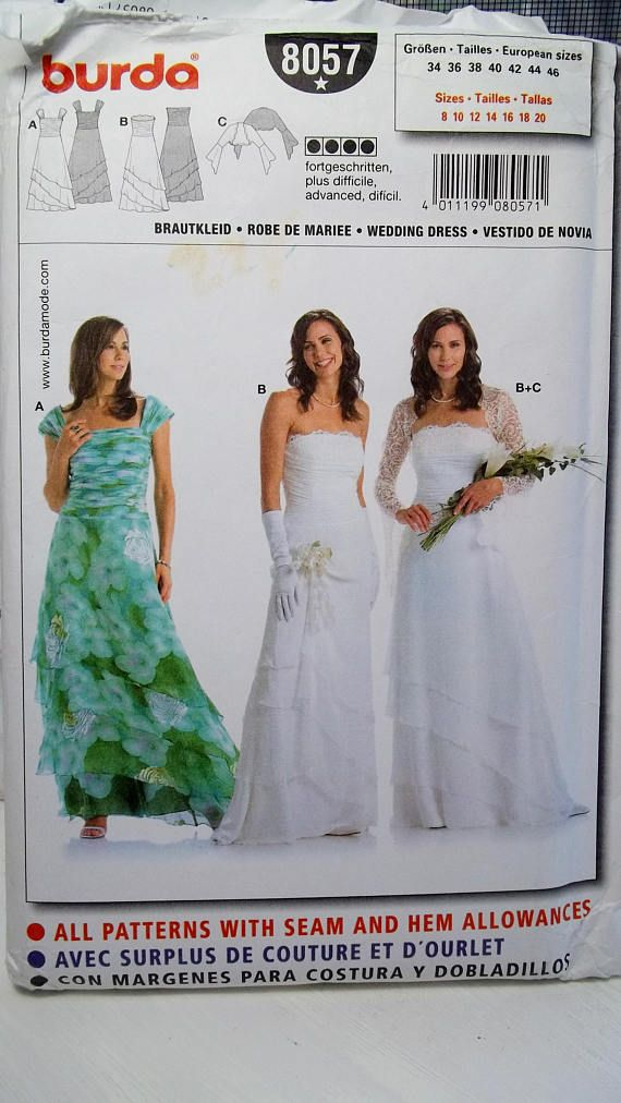 Misses\' Formal Gown or Wedding Dress Burda 8057 Sewing Pattern ...