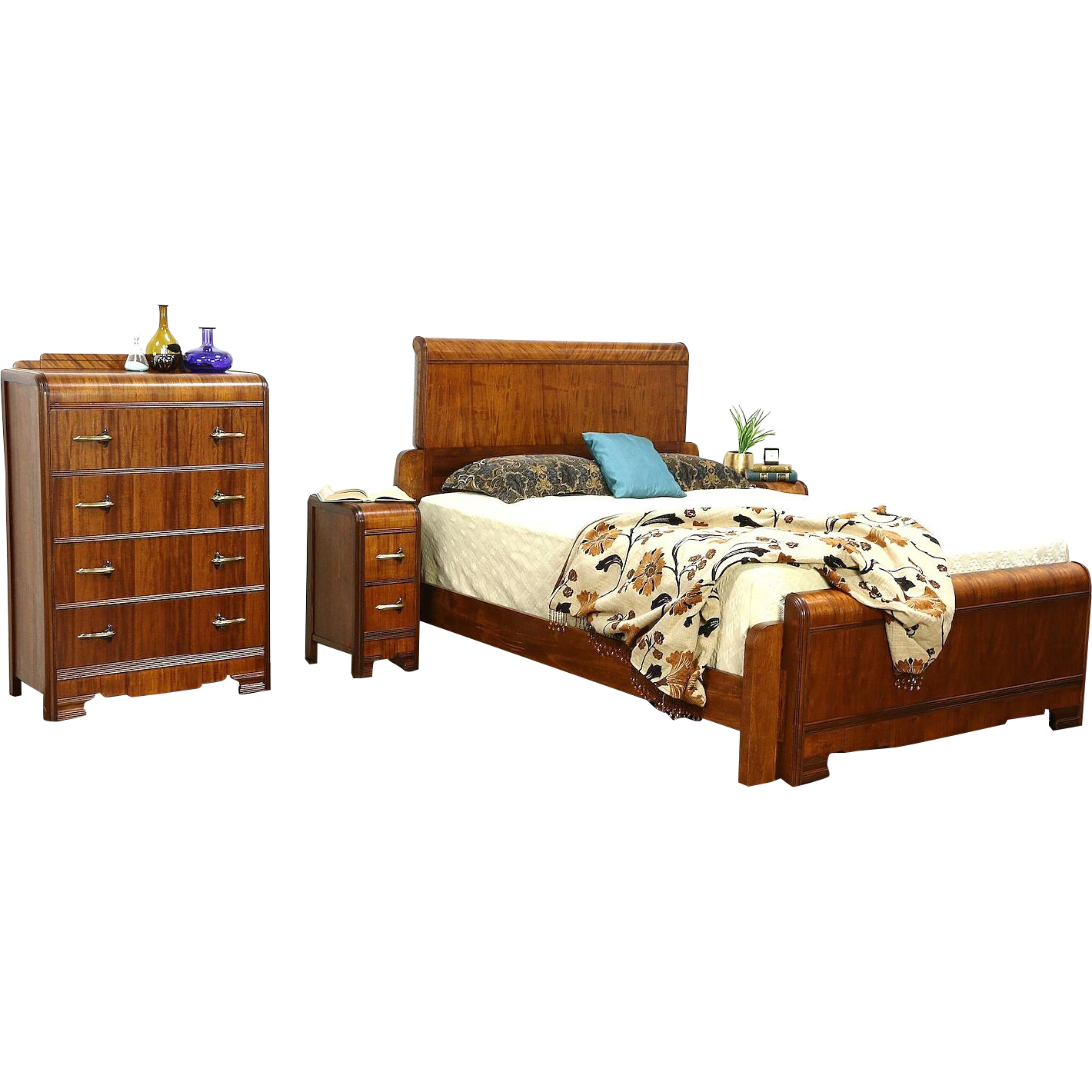 A waterfall design art deco bedroom set from the late us
