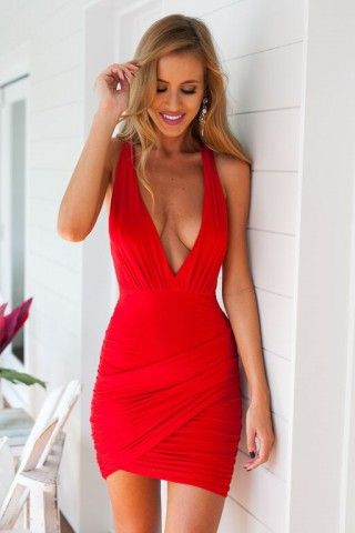 Red Deep V Front Bodycon Wrap Dress  94932d971