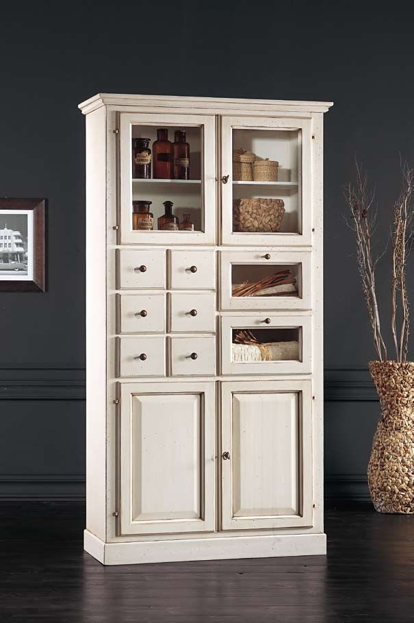Alacena blanca de madera alacenas y o vitrinas muebles for Comedor de muebles de madera blanca