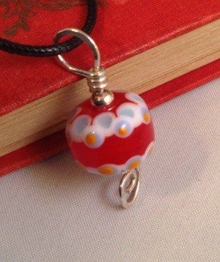 Red handcrafted glass bead sterling silver by BlueberryBayBeads