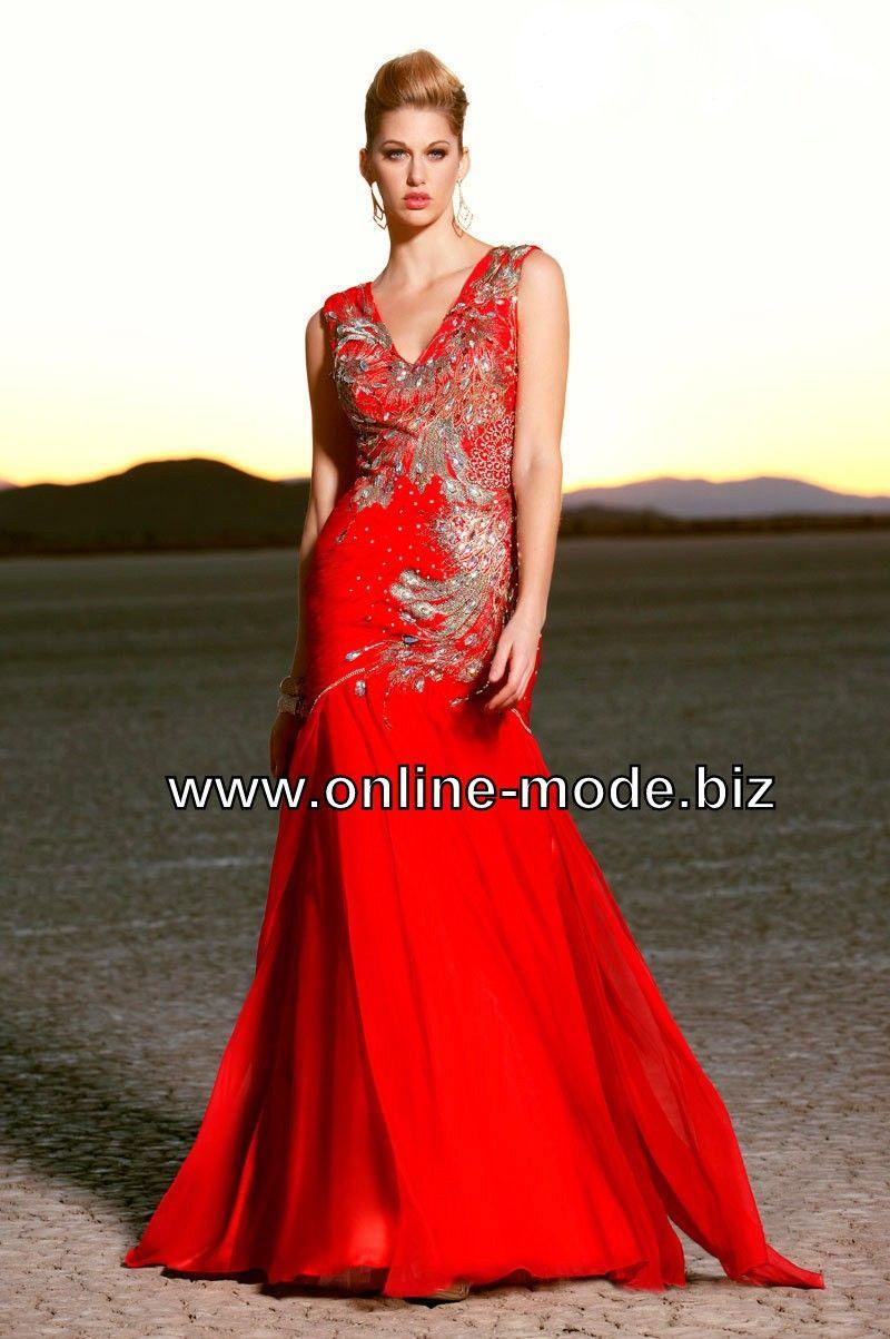 Elegantes Rotes Abend Kleid mit Stickereien | Abendkleid ...