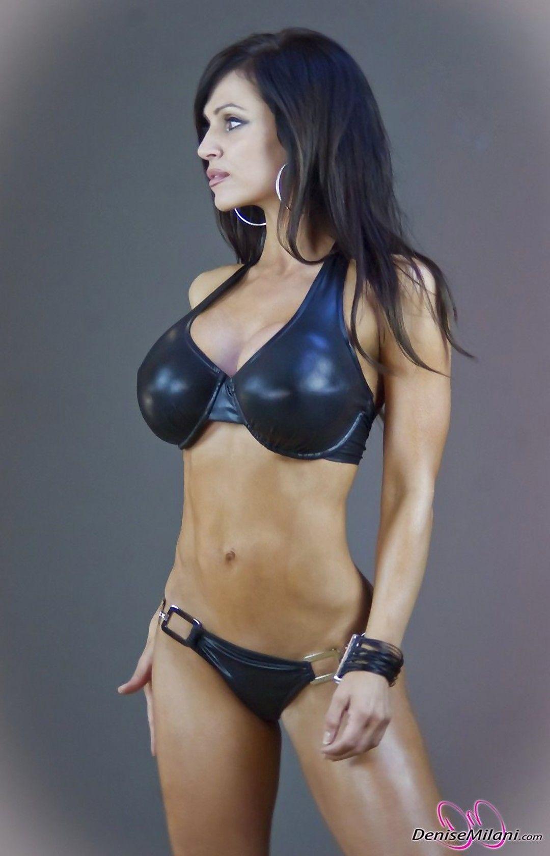 Busty Black Leather Bikini