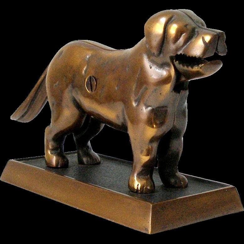Bronze Dog Nut Cracker Doorstop St Bernard over 6 lbs on Stand Ex Cond Mechanical