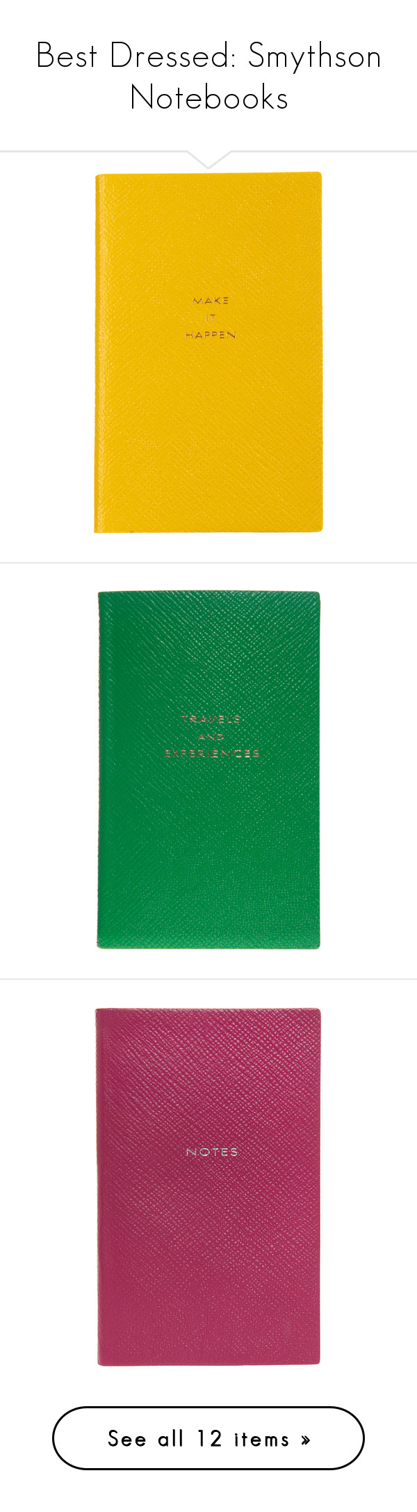 """Best Dressed: Smythson Notebooks"" by polyvore-editorial ❤ liked on Polyvore featuring smythson, notebooks, home, home decor, stationery, filler, blue, notebook, yellow and other"