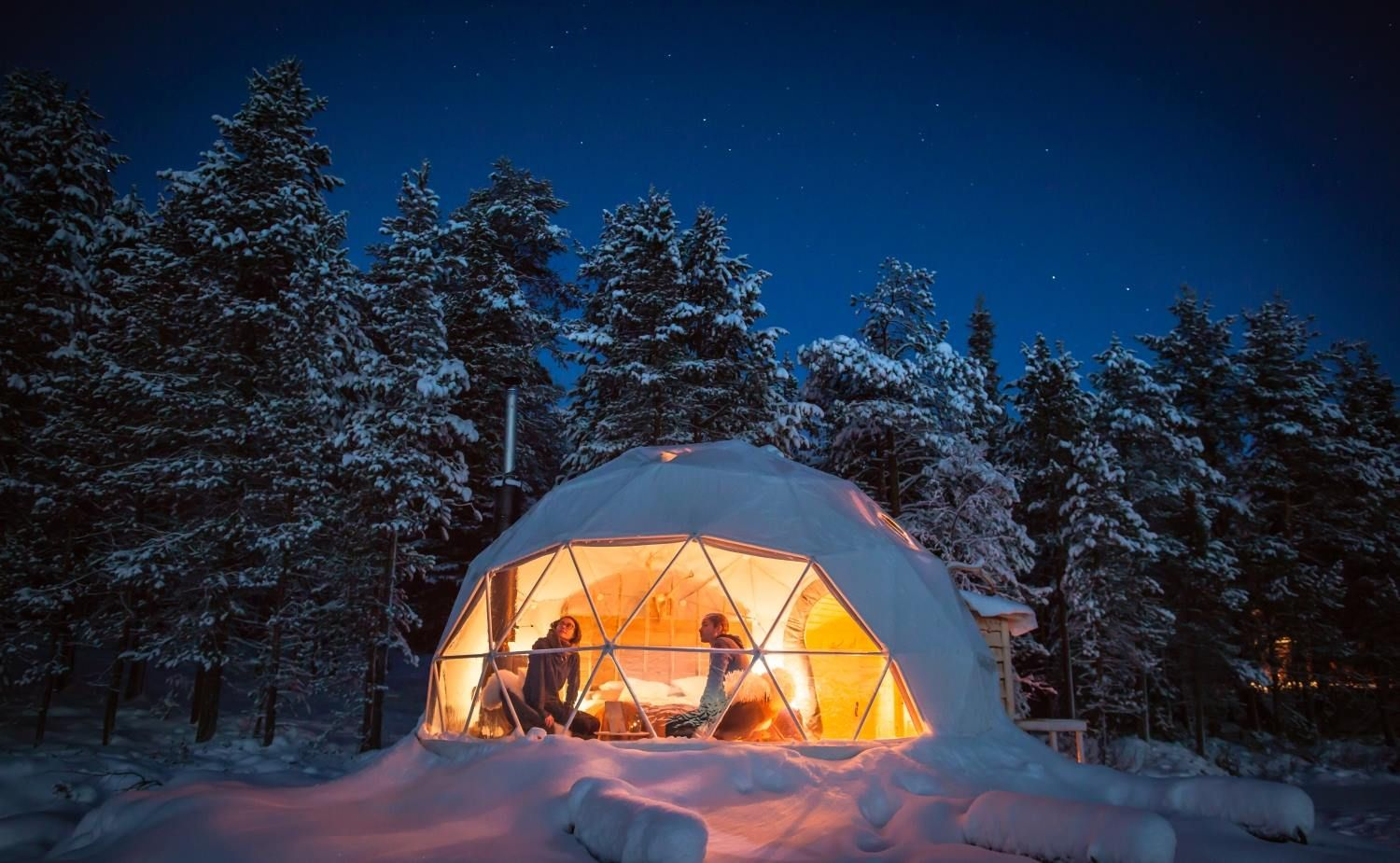 Geodesic Aurora Domes offer stunning views of the Northern Lights