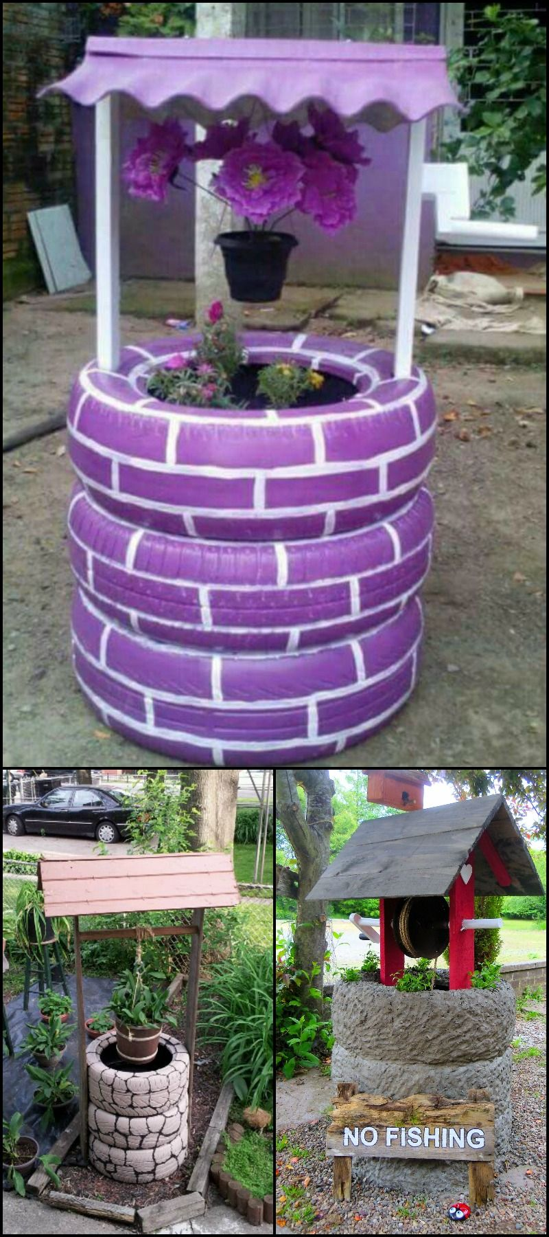 Wishing well planter made from recycled tires planters for Homemade garden decorations
