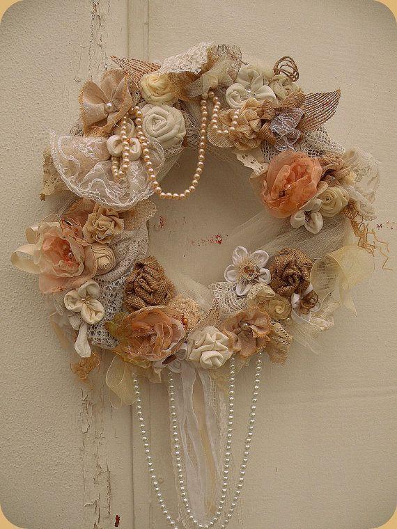 Shabby Chic Wreath – Cottage chic wreath – Rustic Wreath – Shabby wedding wreath – Wreaths – Flowers Wreath – Door Hanger – Boho wreath