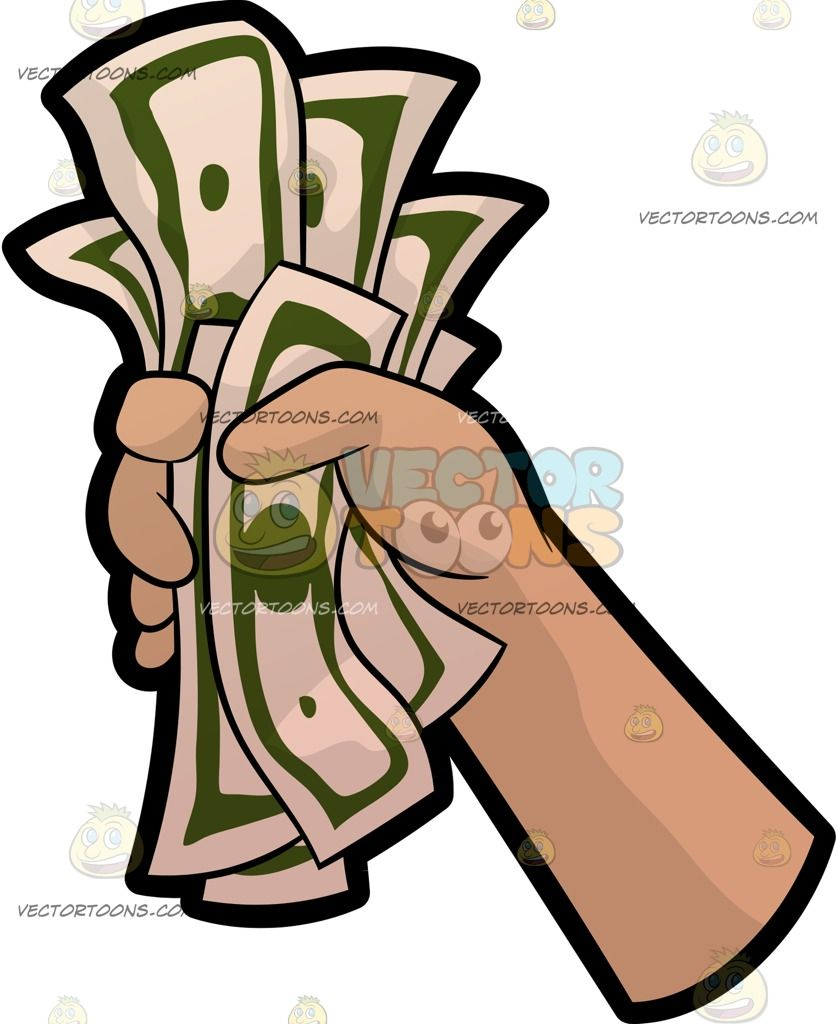 Money Cartoon Images : money, cartoon, images, Cartoon, Holding, Money, Vector, Commercial, Rights., Download, Instantly., Fist,, Hands,, Hands