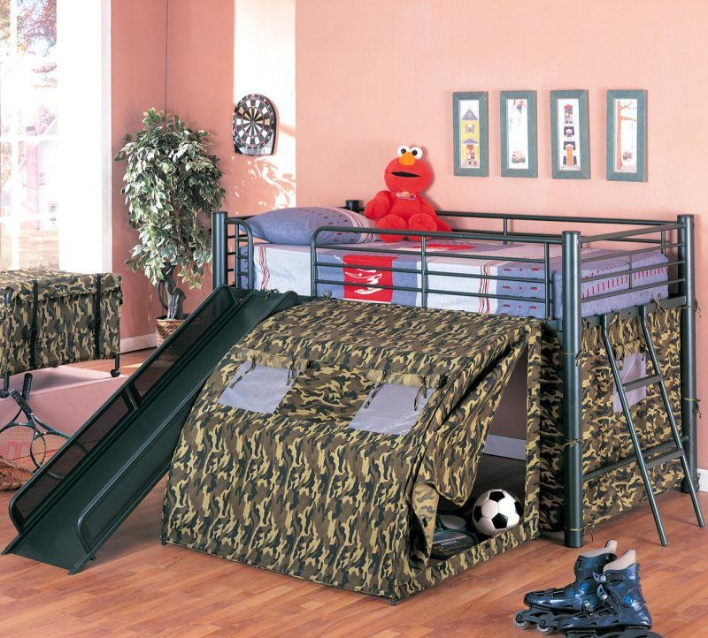 Black Metal Finish Lofted Bed with Slide and Tent Loft