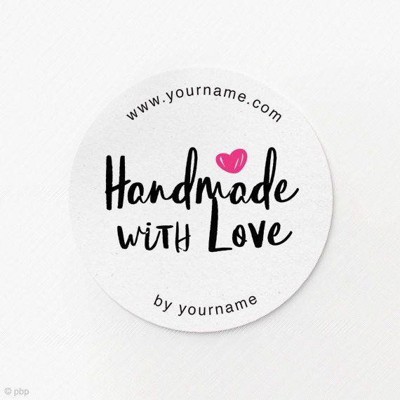 e52914209d17 Handmade with Love Stickers Handmade by Stickers Custom Logo ...