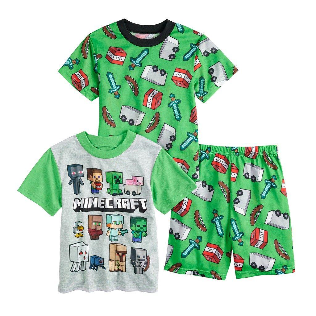 Minecraft Boy's Short Sleeve  Shirt /& Shorts Pajamas New Size 4-5