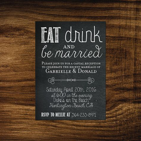 printable elopement reception invitation eat drink be married we