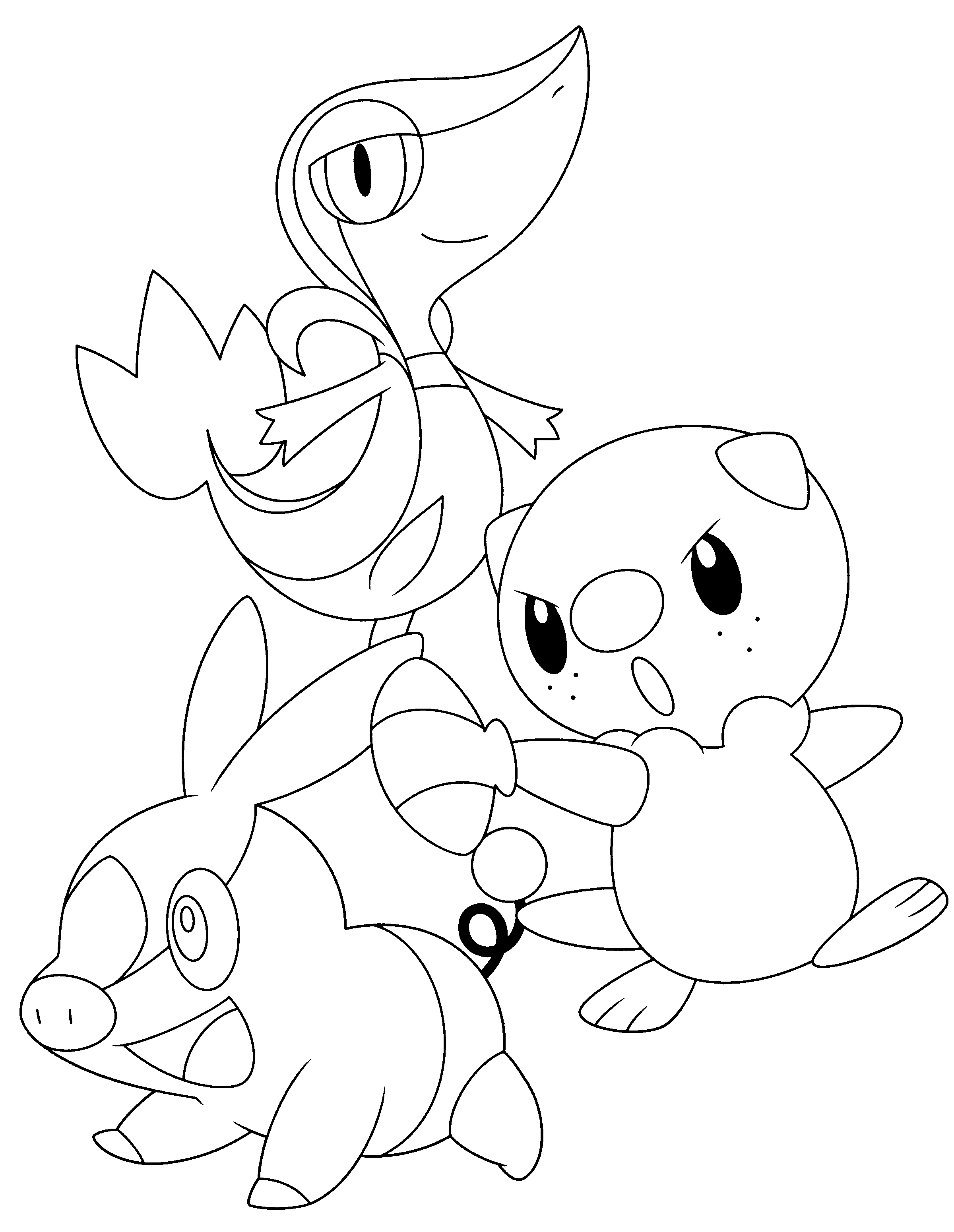 Pokemon kanto coloring pages - Coloring Pages Pokemon Oshawott Snivy And Tepig Google Search
