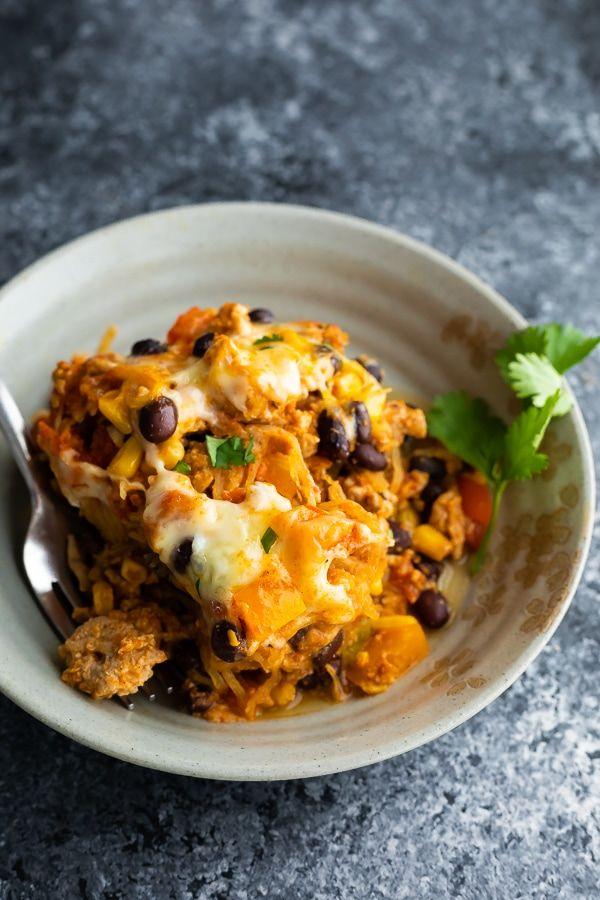 Mexican Spaghetti Squash Casserole | SweetPeasAndSaffron.com