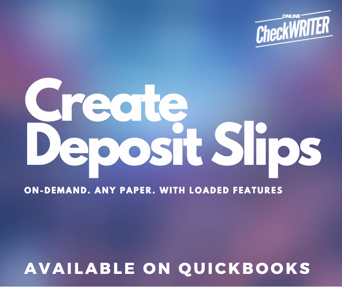 Create Deposit Slips Online For Any Bank Anytime Print On White Paper Printing Software Online Checks Check Mail