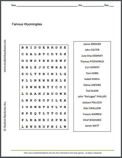 Famous Wyomingites - Word Search Puzzle | Student Handouts | K-12 ...