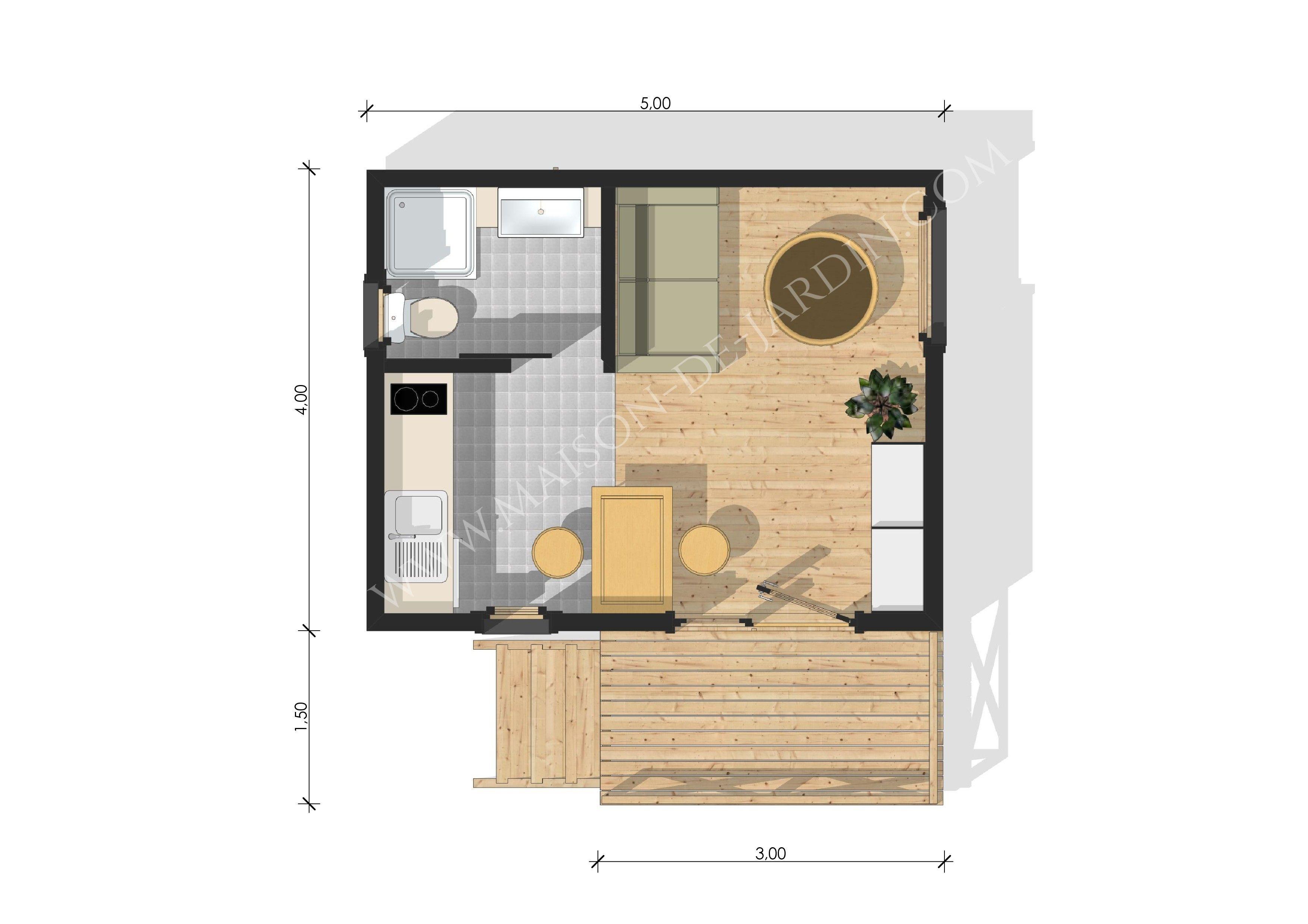 plan maison 20m2 avec mezzanine plan