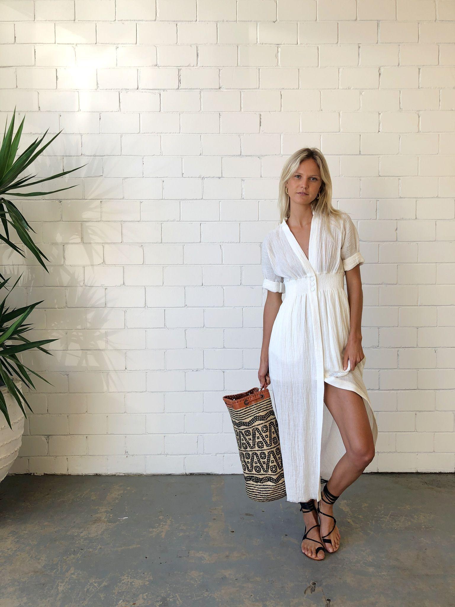 9b55fae776e KitX Faithful Keeper Shirt Dress - White