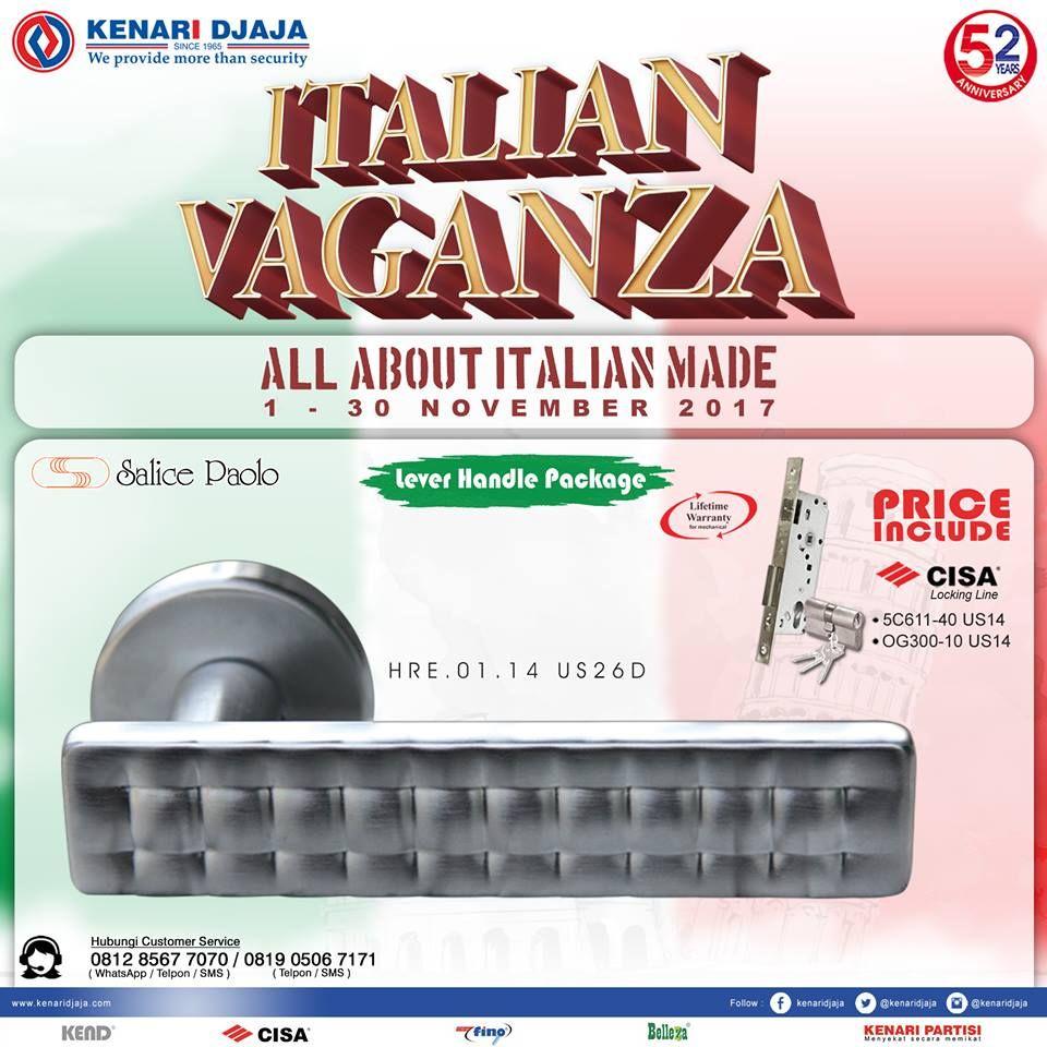 """Woow ... Ada Promo Menarik Lagi Di Kenari Djaja ... """"ITALIAN VAGANZA"""" Berlangsung Dari Tanggal 01 - 30 Nopember 2017 Dapatkan Discount Dan Penawaran Istimewanya Kunjungi Showroom Terdekat Kami Segera  Informasi Hub. : Ibu Tika 0812 8567 7070 ( WA / Telpon / SMS ) 0819 0506 7171 ( Telpon / SMS )  Email : digitalmarketing@kenaridjaja.co.id  [ K E N A R I D J A J A ] PELOPOR PERLENGKAPAN PINTU DAN JENDELA SEJAK TAHUN 1965"""