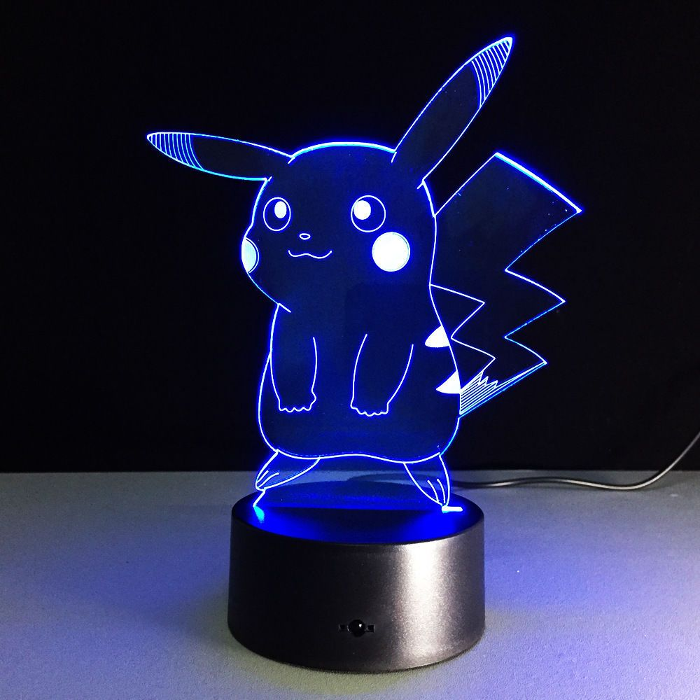 Anime Pokemon Pikachu Night Light Decor 3d Visual Acrylic Led Art Desk Lamp Gift Nochnik Pokemon Pikachu