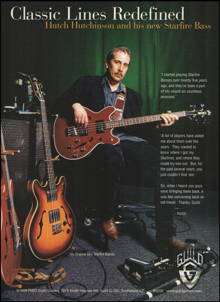 2674b392b234fb Hutch Hutchinson 1998 Guild Starfire Bass Guitar ad 8 x 11 advertisement  print  Guild