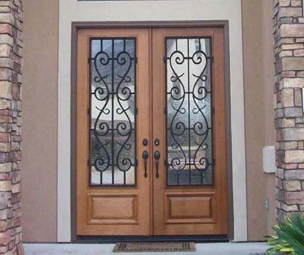 Entry Double Front Doors | Mahogany Wood Wrought Iron St. Charles 3/4