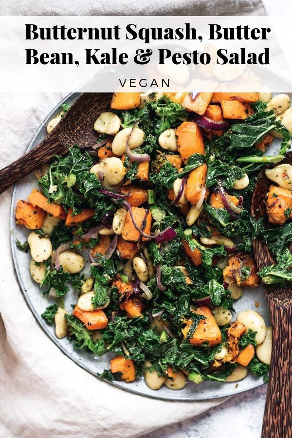 Butternut Squash Kale Butter Bean And Pesto Salad
