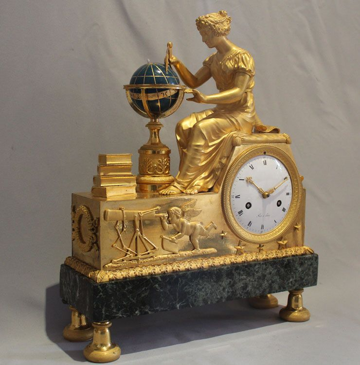 Antique French Empire ormolu and marble mantel clock of Astronomie by Jean-Andre Reiche