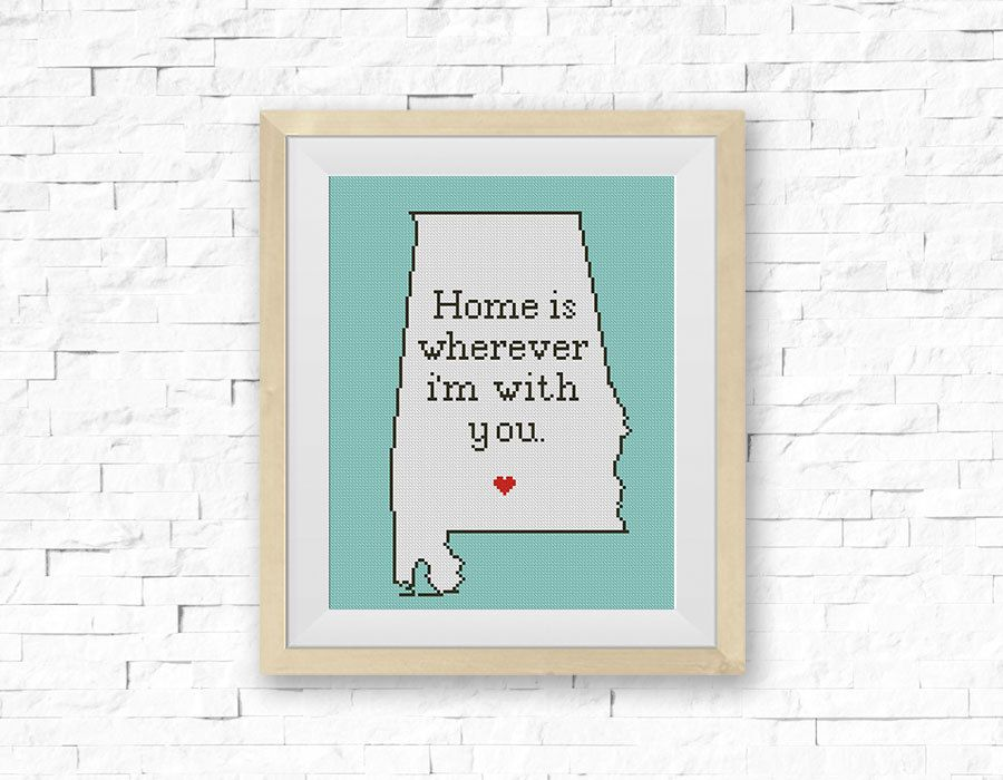 Cross Stitch Pattern, Alabama Silhouette Map, Home Is Wherever..., State