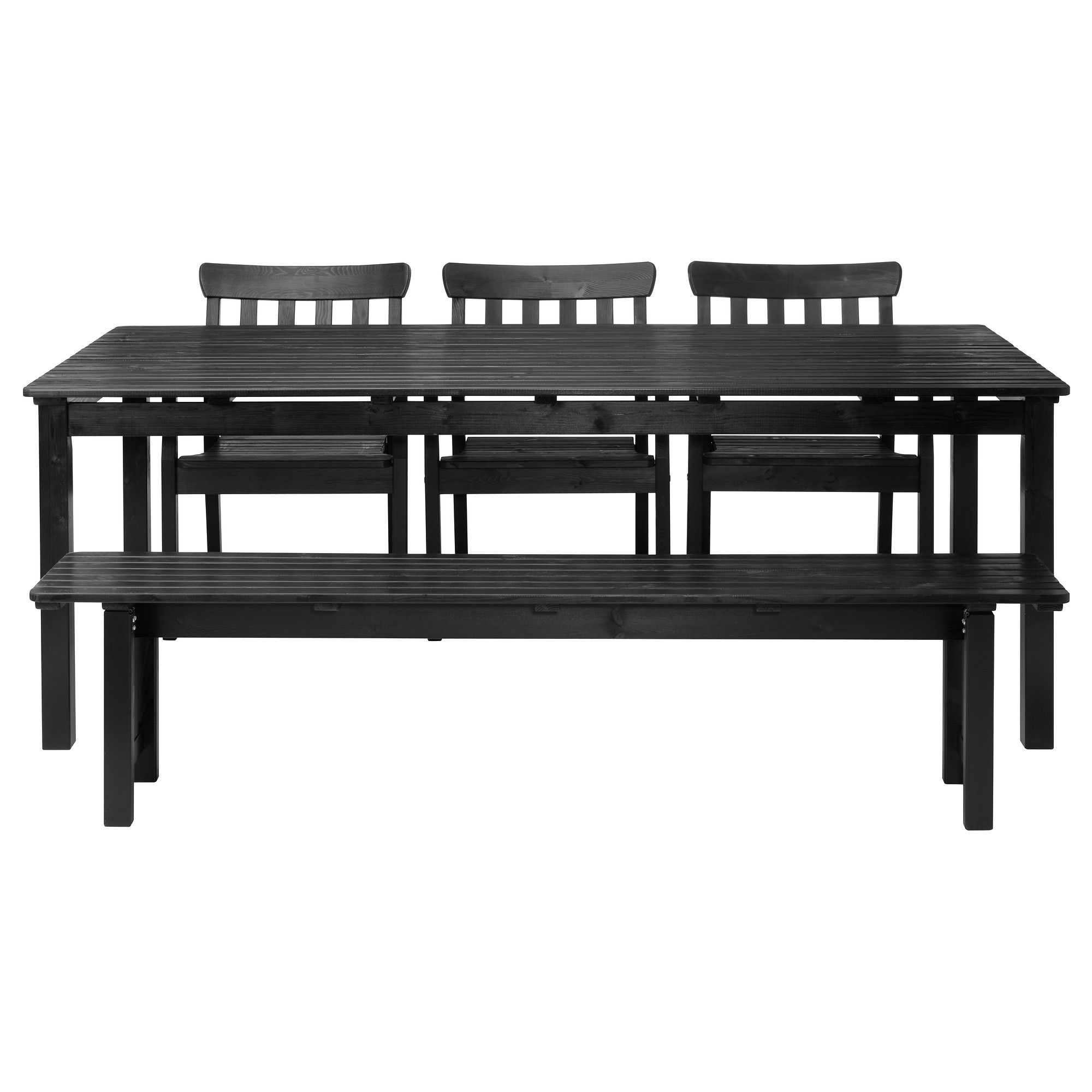 Angso Table Banc Et 3 Chaises Brun Noir Ikea Summer In