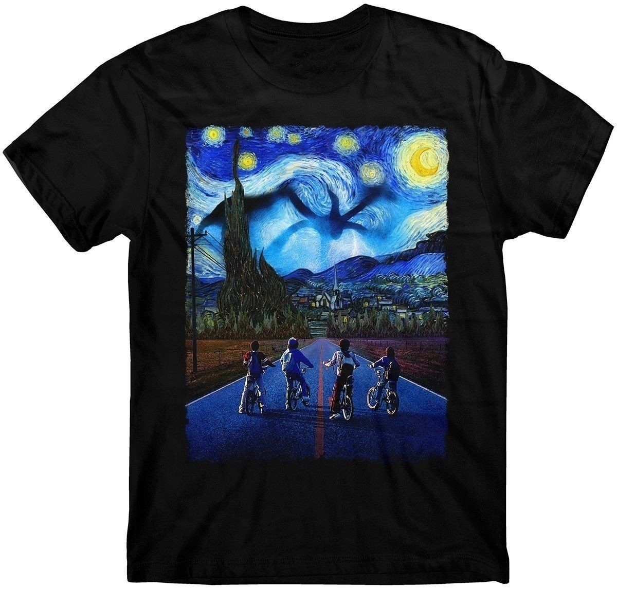 Stranger Things T Shirt Starry Night T Shirt Demogorgon Eleven Steve T Shirt Print T Shirts For Man Casual Short Sleeves In 2021 Stranger Things Tshirt Stranger Things Outfit Printed Shirts [ 1147 x 1200 Pixel ]
