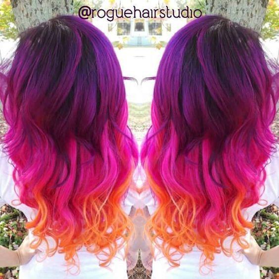 Makeupbag Pink And Orange Hair Sunset Hair Neon Hair Color