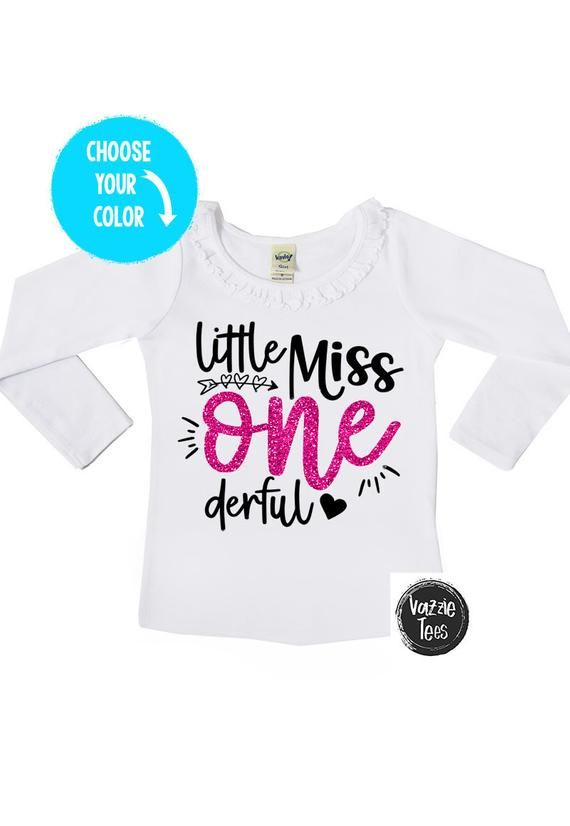 7108f6f7f Little Miss ONEderful - 1st Birthday Shirt - Ruffle Collar Long Sleeve Girls'  Tee - One year old - t
