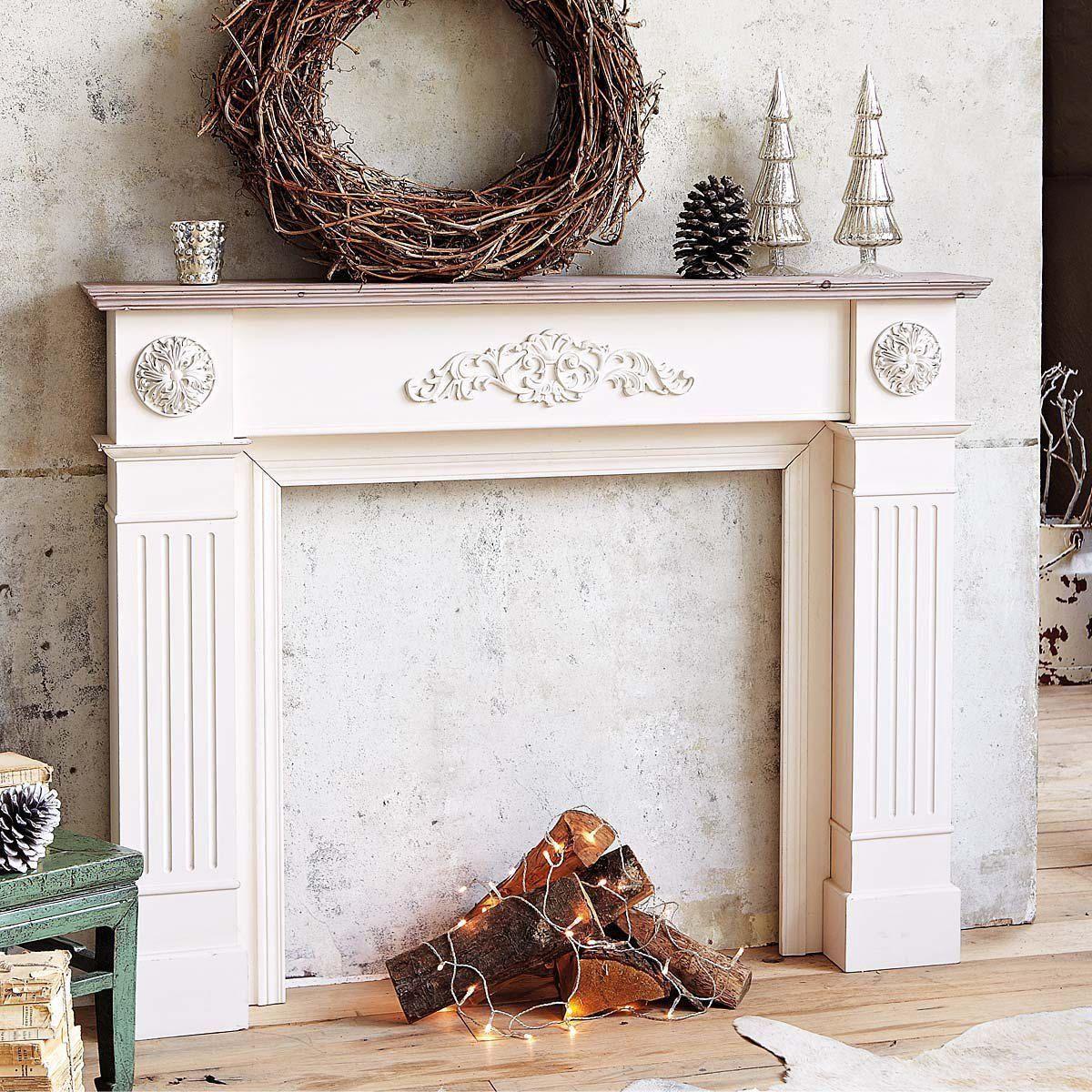 Legno Decorativo Per Camino cornice camino, in legno, beige/bianco antico: amazon.it