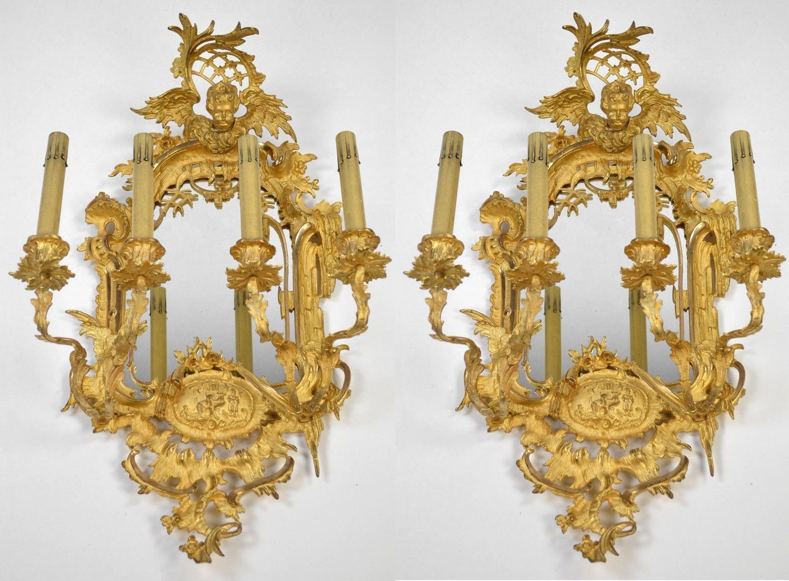 Large pair french rococo mirrored sconces c1880 ornate antique wall large pair french rococo mirrored sconces c1880 ornate wall lights aloadofball Gallery