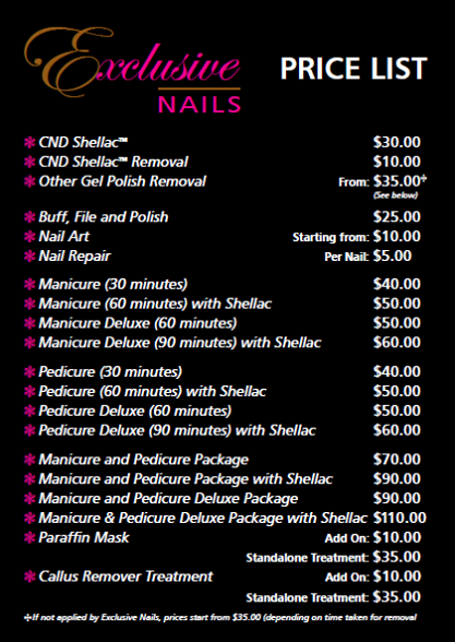 Treatments And Prices At Exclusive Nails Nail Repair Minute Manicure Treatment