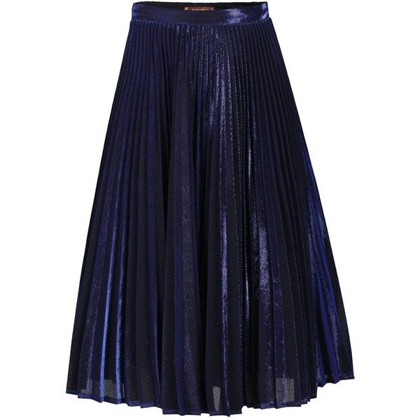 Jolie Moi Metallic Pleated A-Line Skirt ($95) ❤ liked on Polyvore featuring skirts, navy, women, nylon skirt, blue a line skirt, blue metallic skirt, a-line skirt and knee length pleated skirt