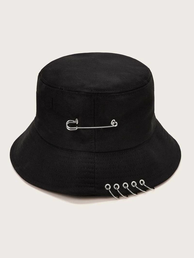 Ring Decor Bucket Hat Trendy Hat Black Bucket Hat Bucket Hat
